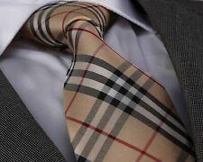Celino Tan Plaid 100% Woven Silk Men's Tie Necktie Premium Turkey Made