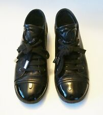 Auth CHANEL Black Leather Cap Toe CC Sneakers Size 36