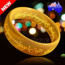 NEW Hobbit Lord of the Rings Gold Elvish Rune Engraving Ring Pendant Necklace