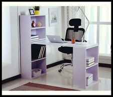 OFFICE STUDY COMPUTER TABLE DESK WITH DOUBLE BOOKCASE BOOK SHELF WHITE