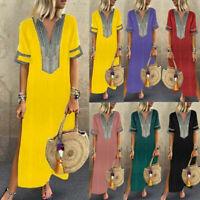 Women Casual Printed Long Sleeve V-neck Maxi Dress Hem Baggy Kaftan Long Dresses