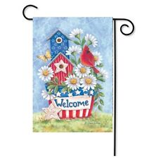 """Patriotic Blooms Spring Garden Flag Welcome Daisies Cardinal 12.5"""" x 18"""" Flags"""
