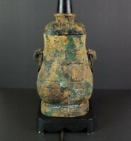 Japan Cast Iron Lamp Ginger Jar Vase Urn Green Gold Black Verdigris Japanese