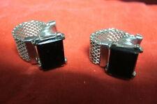 Vtg Silver Tone & Black color Stone Cuff Links