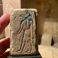 Egyptian art - Anubis painted relief sculpture. God of mummification / Mythology