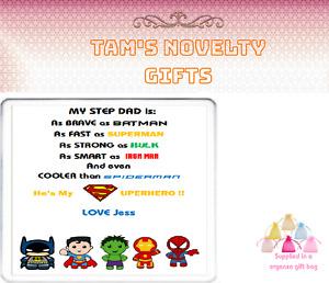 Personalised step dad stepdad Dad Drinks coaster perfect gift free uk p&p