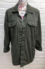 H&M Jacket Size 10 12 38 Boyfriend Fit Casual Blazer Army Green Pure Cotton