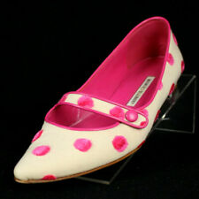 MANOLO BLAHNIK Ivory & Pink Polka Dot Crepe Pointed Toe Mary-Jane Flats 39