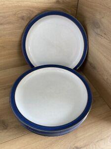 Denby Imperial Blue Large Dinner Plates x6 26cm Stoneware
