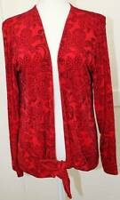 Chico's Travelers Red Black Paisley Tie Waist Open Front Top Size 1 (8/10)