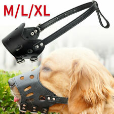 More details for anti barking mask bit stop chewing pet leather muzzle adjustable dog mouth cover