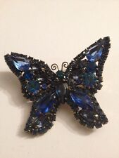 Beautiful Vintage Blue Color Rhinestone  BUTTERFLY Pin Brooch (G115)