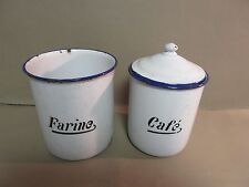 Vintage French Enamelware-2 Kitchen Canisters-Paris France Brocante-OLD!