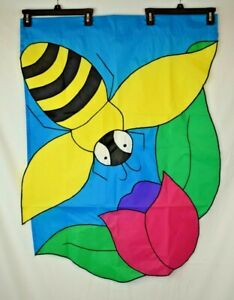 Bumblebee with Flower Outdoor Garden Flag - Large (28x38)