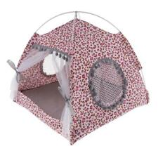 Pet Cat Teepee House Tent Nest Cave Bed Kennel Non-slip M Leopard Print Pink