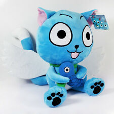 "Fairy Tail  Blue Happy Cat With Fish Anime Soft Plush Doll Toy 6"" Teddy Gift"