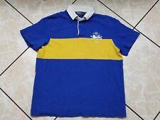 VINTAGE Ralph Lauren Polo Rugby Shirt Adult XL Lion Crest Striped 90s Blue Sewn