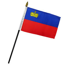 """Liechtenstein 4""""x6"""" Flag Desk Table Stick"""