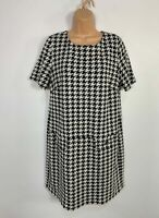 WOMENS WALLIS SIZE UK 14 BLACK&WHITE CASUAL SHORT SLEEVE STRETCH A LINE DRESS