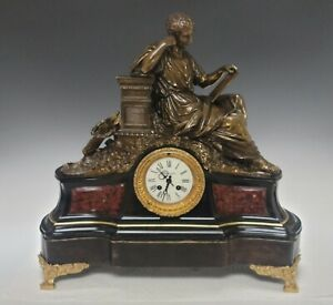 Large 19C French Bronze Marble Clock Tiffany & Co Signed Carrier Belleuse