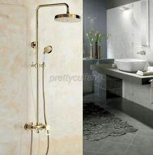 Polished Gold Brass Wall Mounted Bathroom Rainfall Shower Faucet Set Pgf415