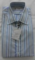 Men's Turnbull & Asser Work/Casual Shirt - Multi Blues & White Stripe-15.5'' NEW