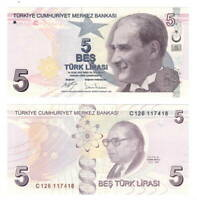 TURKEY 5 Lira (2009) P-222 Banknote Paper Money