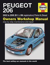 Haynes manual 4613 PEUGEOT 206 1.1 1.4 1.6 2.0 L LX GLX 1.4 et 2.0 HDi 2001-2009