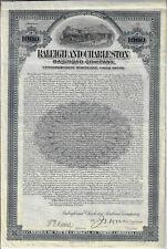 NORTH & SOUTH CAROLINA 1906 Raleigh & Charleston Railroad Co Bond Stock Certific