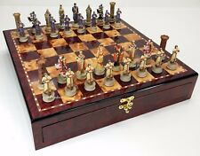 Medieval Times Crusades King Richard Knights Chess Set Cherry Color STORAGE BD