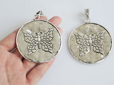 5 x Antique Silver Large Round Butterfly Charms Pendants 61mm for Jewelry Making
