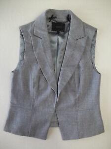 Ladies waistcoat Coast Size 12 Grey Topstitching Lined Collar Good Christmas VR2