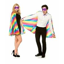 Rainbow Gay Pride Cape & Mask Adult Fancy Dress Carnival Joseph Costume