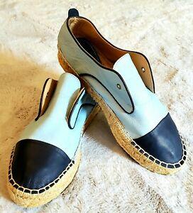Charles David Harper Blue/Navy Leather Espadrille Platform Shoes SZ6.5M $170