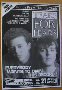 TEARS FOR FEARS original concert poster '85