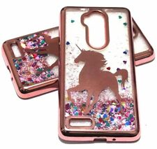 For ZTE MAX XL N9560 - Rose Gold Unicorn Glitter Hearts Liquid Water Case Cover