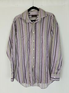 Etro men 40 button up shirt long sleeve striped career Italy