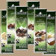 Schokolade 40g mit Fairtrade Anteil, belgische CAVALIER m. Erythrit und Stevia