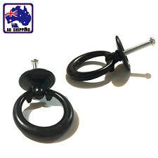 2x Black Ring Pull Handle Cabinet Knob Drawer Dresser Cupboard Drop TENH29855x2