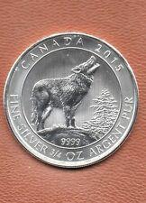 Canada 2015 $2 Grey Wolf 3/4 troy oz .999 Fine Silver Art Round Coin