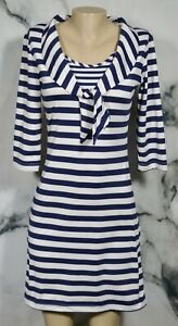 SAILOR SAILOR Blue White Striped Dress Small 3/4 Sleeves Tied Sailor Collar