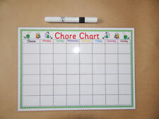 A4 Weekly Chore Chart - Homemade - Laminated- Reusable Chart - & dry wipe pen