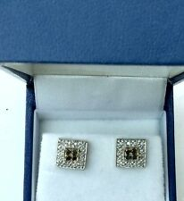 HALLMARKED 9CT YELLOW GOLD GENUINE BLACK & WHITE DIAMOND EARRINGS BUTTERFLY