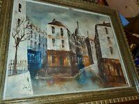 Vintage oil painting on canvas, cityscape, Paris street scene, Signed, 1970