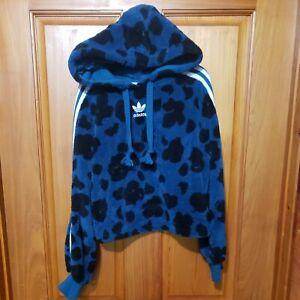 Adidas Originals Women's Bellista Sherpa Hoodie Size Small Pullover Blue EC1891