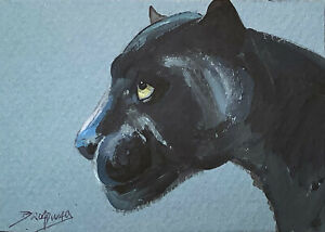 Original ACEO Impressionism Acrylic 2.5x3.5 in. Black Panther painting