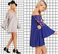 PLUS SIZE XL-1XL-2XL UMGEE COBALT or COOL GREY Embroidered Dress/Tunic BHCS