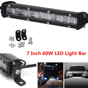 7 Inch 60W Flood Beam Slim CREE LED Light Bar 6000K White Light For Car ATV 4x4