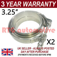 "2X V-BAND CLAMP + FLANGES ALL STAINLESS STEEL EXHAUST TURBO HOSE 3.25"" 83mm"