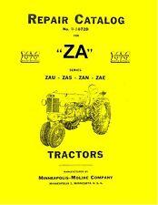 Minneapolis Moline ZA Tractor Repair Manual Reproduction
